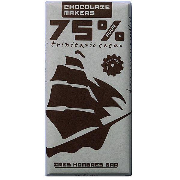 chocolatemakers tres hombres 75 trinitario pure chocolade kopen bij chocoladeverkopers