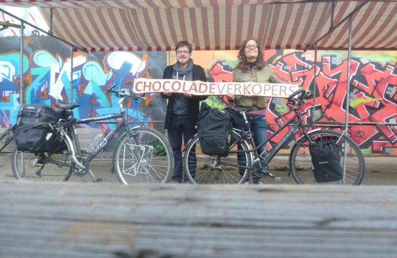 chocoladeverkopers op de markt