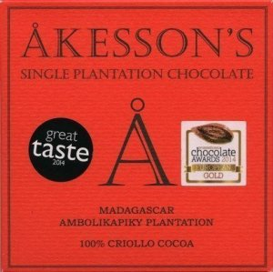100% dark bar organic akessons criollo madagaskar