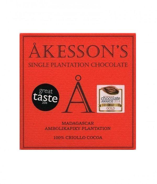 chocolade akesson's 100% suikervrij geheel cacao honderd procent cacao chocolade zeer zacht puur en bijzonder bean to bar madagaskar