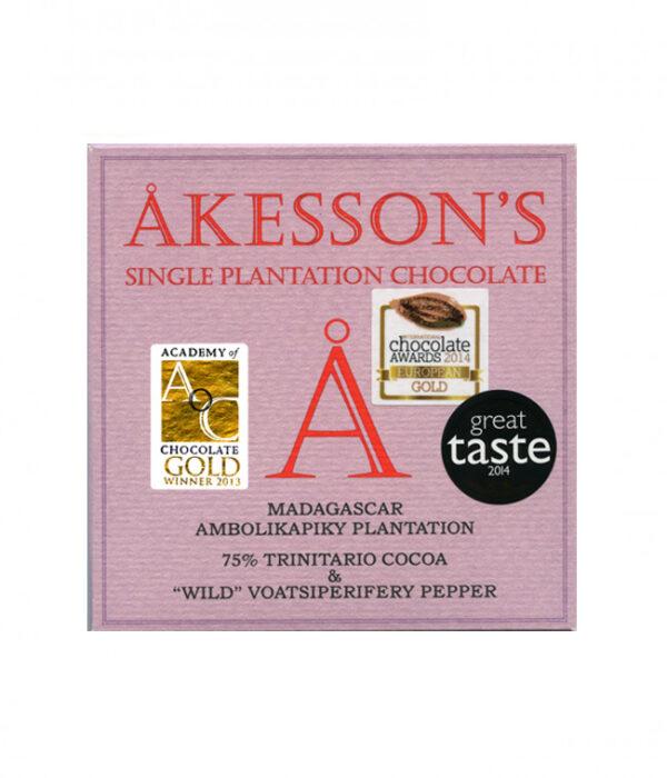 akesson's madagaskar chocolade met wilde peper voatsipefery kruiden specerijen bij bijzondere tree to bar chocolade