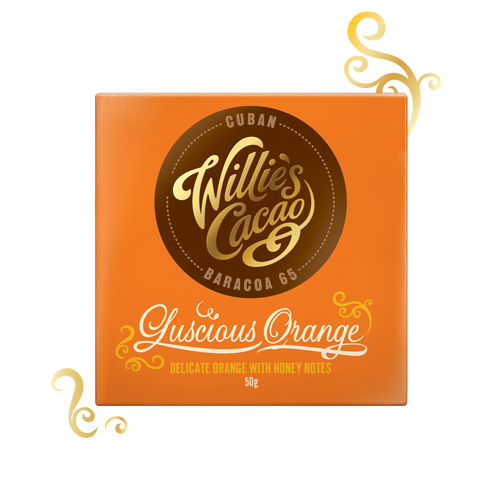 sinaasappel toegevoegd aan pure chocolade van willie's cacao uit Cuba