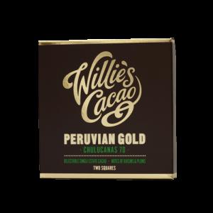 het goud van peru. 70 procent pure chocolade van willie's cacao uit de UK