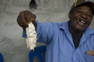 esmeraldas ecuador lachende man met cacao