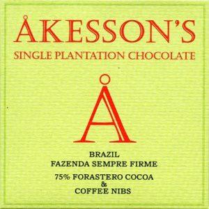akesson's chocolade single plantation met koffie nibs brazilie