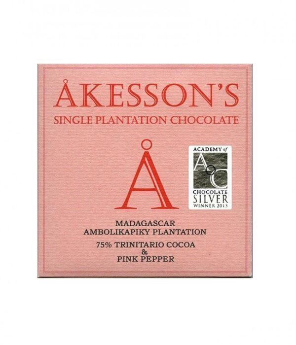 akesson's chocoladereep met roze peper kruidig pittig bloemig heerlijk lekkere chocolade van cacao uit madagaskar