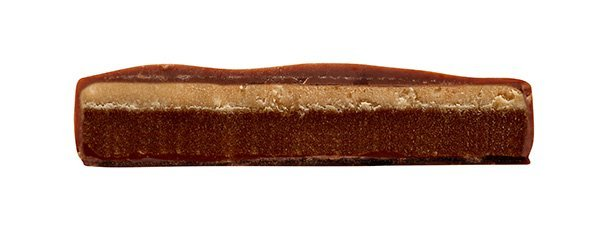 cross-section of hand scooped chocolate bar by zotter from austria