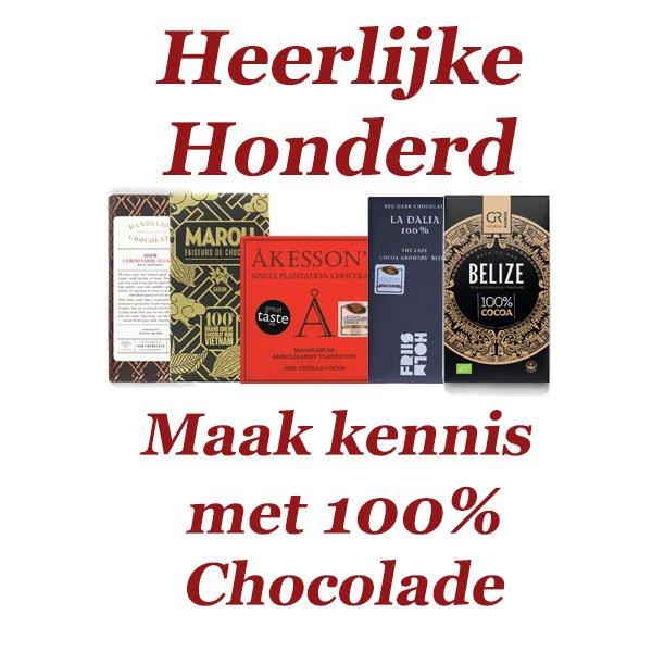 heerlijke honderd vijf bijzondere 100% chocolades gemaakt met honderd procent cacao bean to bar chocoladerepen vaak biologisch en altijd heerlijk