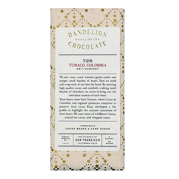dandelion colombia tumaco uncommon cacao premium chocolade