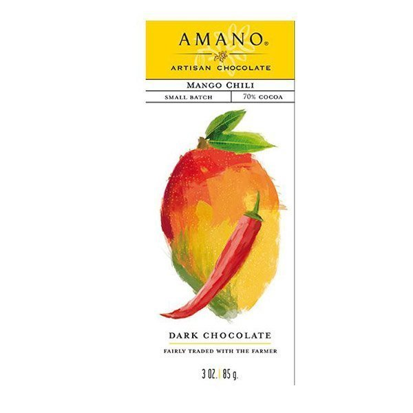 amano artisan chocolate with mango and spicy pepper