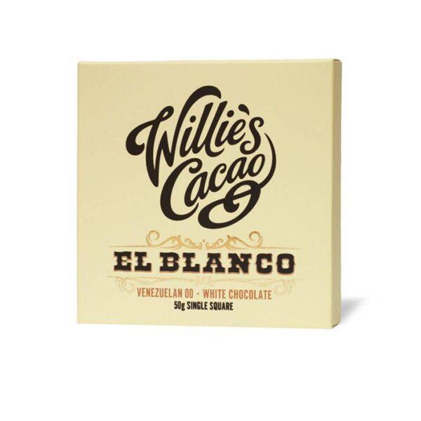 witte chocolade el blanco van willies cacao uit engeland een romige wit chocoladereepje fijn van smaak zoet