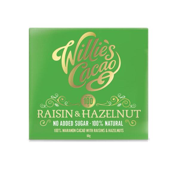 willie's cacao 100% natuurlijk rozijnen hazelnoten