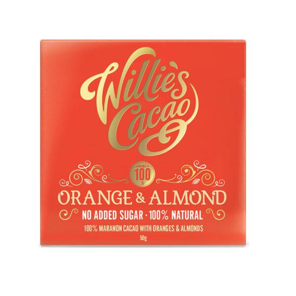 willies cacao sinaasappel amandel chocolade zonder toegevoegde suiker suikervrij