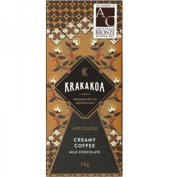 krakakoa chocolate bar wrap a creamy milk chocolate with coffee