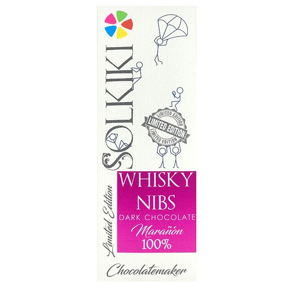 solkiki 100% chocolate with whiskey nibs