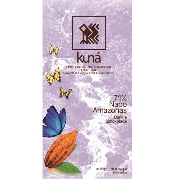 kuna biologische chocolade. gemaakt in ecuador duurzaam verpakt met suikerrietvezels