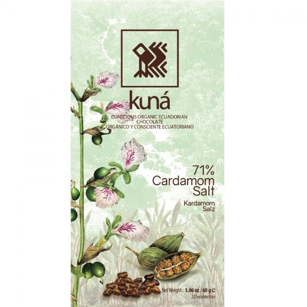 chocolate bar with cardamom and sea salt. spicy thanks to the spices and rich natural taste of dark chocolate with 71% cocoa from Ecuador