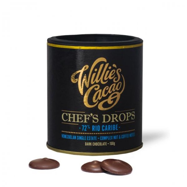 couverture chef drops van willie's cacao rio caribe venezuela puur voor bakken van taarten en desserts met chocolade