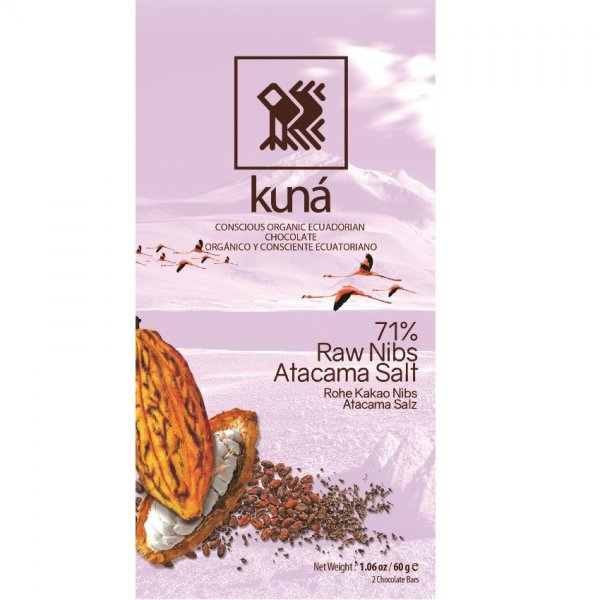 dark kuna with cocoa nibs raw and salt organic chocolate from Ecuador