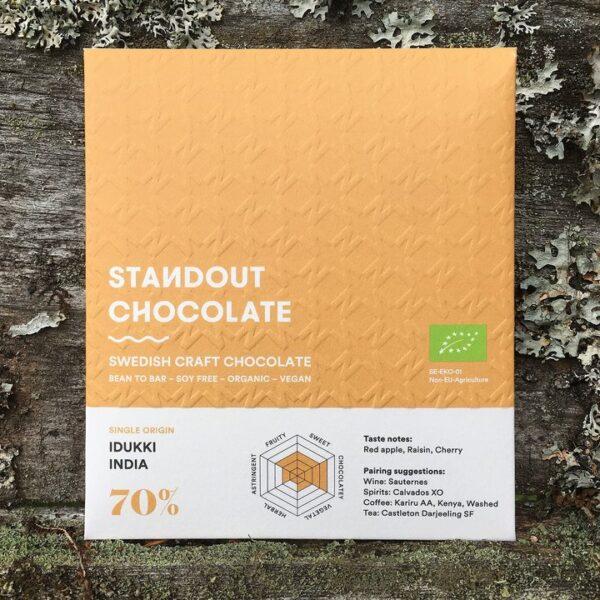 standout chocolade swedish craft chocolate met origine chocolade van cacao uit idukki india goground biologisch puur