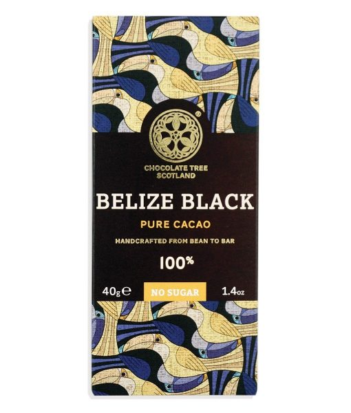 belize 100% of chocolate tree. sugar-free organic packaging. 100% cocoa. strong taste. fair trade