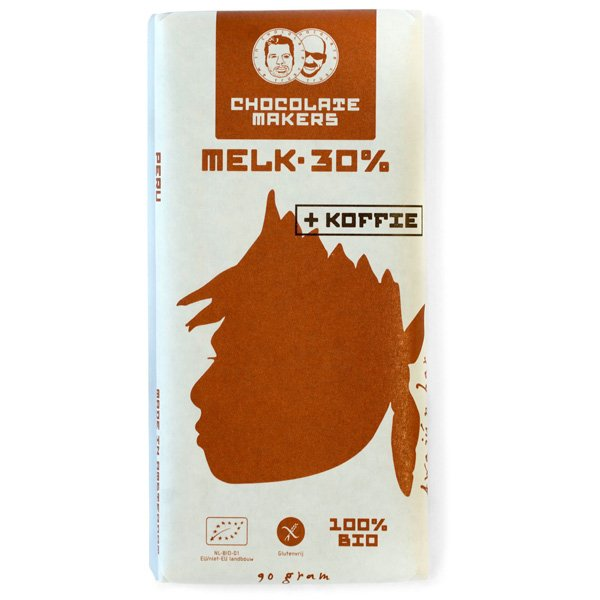 chocolate makers milk chocolate with coffee from fair coffee and chocolate milk 30% organic fair compostable