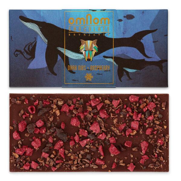 omnom pure chocolade met cacaonibs en frambozen winters cadeau design chocolade