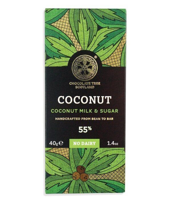 vegan melkchocolade met kokos van chocolate tree bean to bar fair kokosbloesemsuiker biologisch gecertificeerd eerlijke chocolade