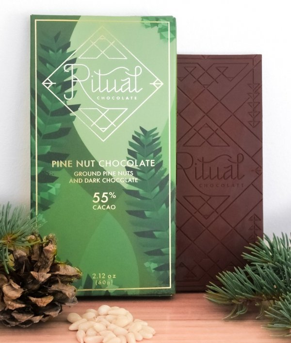 ritual chocolate bar and packaging with pine nuts pine tree utah usa craft chocolate combination locally sustainable