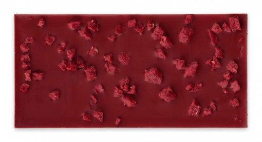 chocolade voor je valentijn bestellen dat kan goed met deze prachtige kleur chocoladereep frambozen en drop