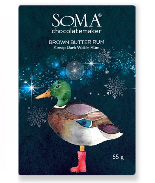 soma brown butter rum chocolate with duck on packaging