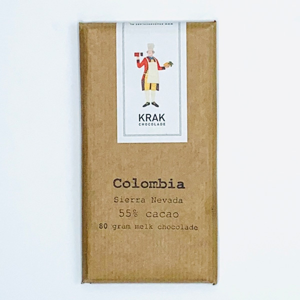 krak chocolade colombia sierra nevada 55% milk chocolate