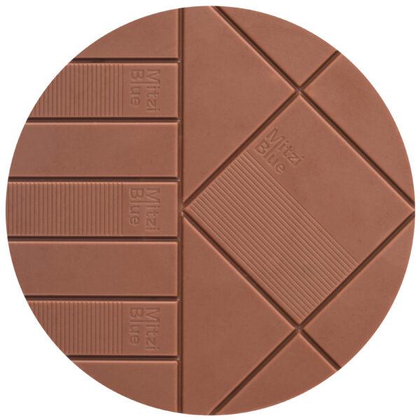 mitzie blue zotter koffie chocolade reep rond met patroon