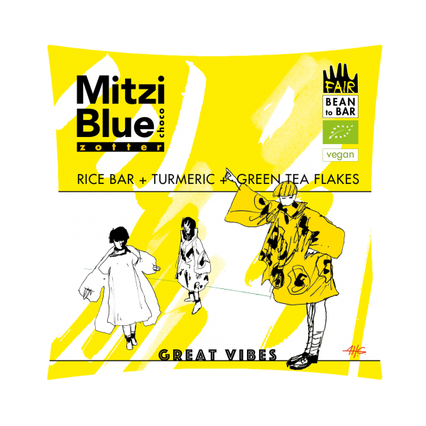 mitzi blue vegan white chocolate with rice green tea and turmenic turmenic
