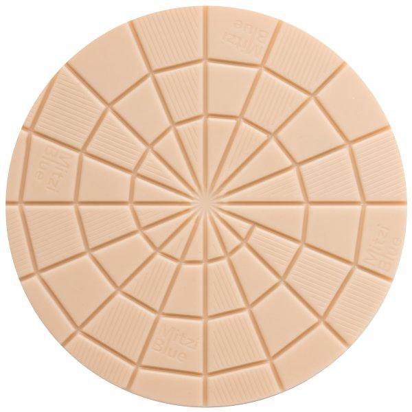 mitzi blue ronde chocoladedisc vormen witte chocolade patroon