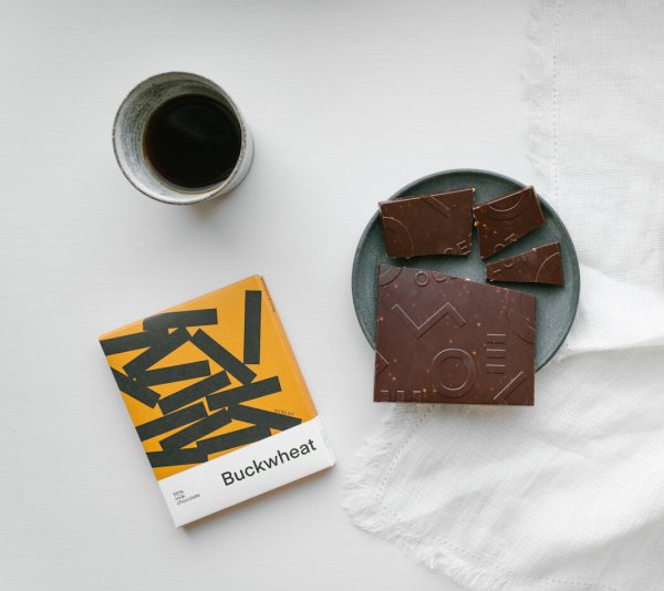 sweets of milk chocolate with roasted buckwheat from ocelot relax on your free Sunday