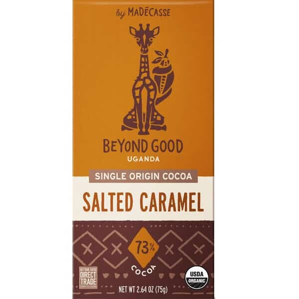 beyond good gezouten karamel chocolade uganda direct trade organic fair