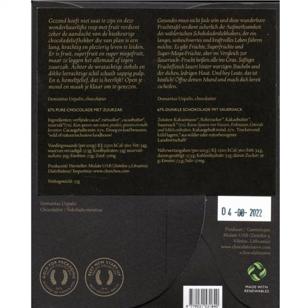 zuurzak chocolade naive achterkant inhoud ingredienten informatie