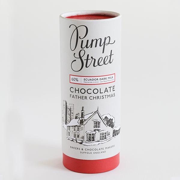 tube pump street bakery voor kerst met chocolade kerstman donkere origine chocolade cadeau verpakking