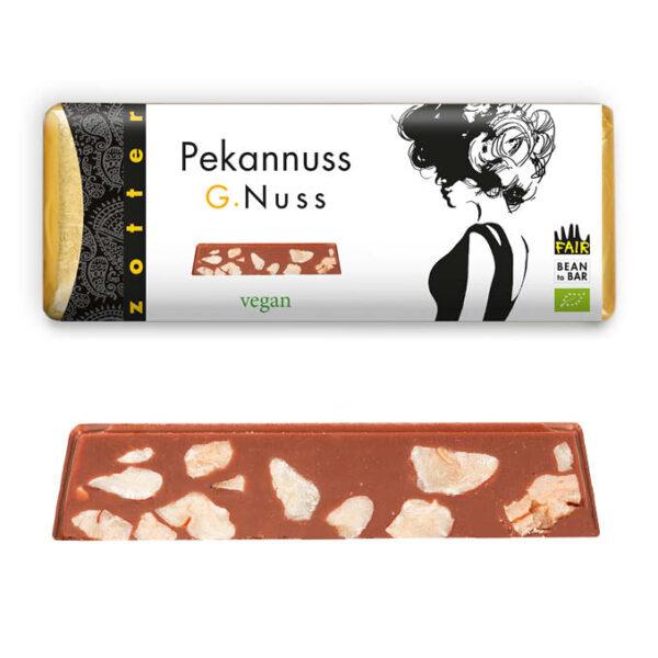 zotter pecannoten vegan melkchocolade met rijstmelk biologisch en fair