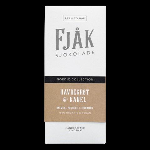 fjak vegan white chocolate with oatmeal and cinnamon