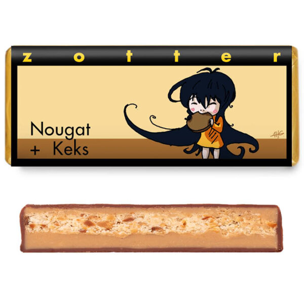 cross section and packaging filled chocolate of zotter nougat keks koek